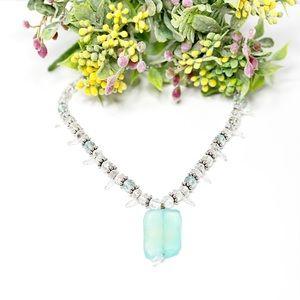 Soft Green Peruvian Chalcedony & Quartz Necklace